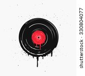 melted vinyl record with drops. ... | Shutterstock .eps vector #330804077