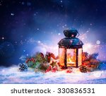 Magical Lantern On Snow With...