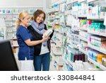 smiling female assistant... | Shutterstock . vector #330844841