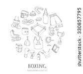hand drawn doodle boxing set... | Shutterstock .eps vector #330857795