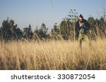 Long Grass Meadow Closeup With...