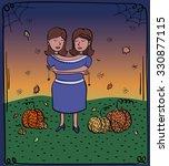 card. card halloween. twins.... | Shutterstock .eps vector #330877115