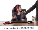 secretary sitting at desk with... | Shutterstock . vector #330882335