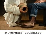 jesus pouring water to wash... | Shutterstock . vector #330886619