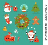 happy new year set. vector... | Shutterstock .eps vector #330889079