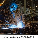 worker with protective mask... | Shutterstock . vector #330894221