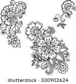Set Of Mehndi Flower Pattern...