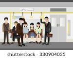 people inside a metro subway... | Shutterstock .eps vector #330904025