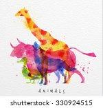 color animals  giraffe  wolf ... | Shutterstock .eps vector #330924515
