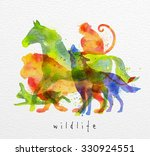 color animals  horse  wolf ... | Shutterstock .eps vector #330924551