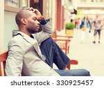 side profile stressed young... | Shutterstock . vector #330925457