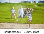 girl playing golf and  hitting... | Shutterstock . vector #330931025