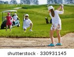 girl playing golf and  and... | Shutterstock . vector #330931145