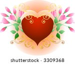 heart and roses | Shutterstock .eps vector #3309368