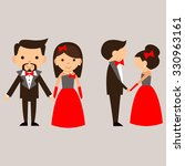cartoon man and woman in red... | Shutterstock .eps vector #330963161