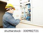 electrician builder at work... | Shutterstock . vector #330982721