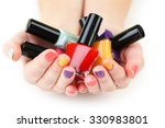 colorful nail polish bottles in ... | Shutterstock . vector #330983801