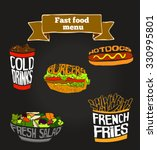 hamburger  french fries salad... | Shutterstock .eps vector #330995801