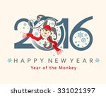 cute card with a monkey in... | Shutterstock .eps vector #331021397