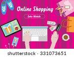 online shopping concept desktop ... | Shutterstock .eps vector #331073651