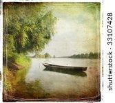 Landscape With Boat   Vintage...