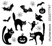 halloween cartoon cats  bats ... | Shutterstock .eps vector #331077797