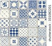 indigo blue flower azulejos... | Shutterstock .eps vector #331082201