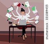 multitasking business woman... | Shutterstock .eps vector #331089455