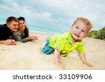 Baby Boy Crawling In The Beach  ...