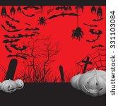 background  pumpkin trees grave ... | Shutterstock .eps vector #331103084