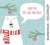 Cute Hand Drawn Polar Bear Wit...