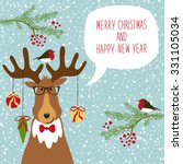 cute hand drawn reindeer  with... | Shutterstock .eps vector #331105034