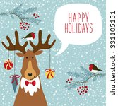 cute hand drawn reindeer  with... | Shutterstock .eps vector #331105151