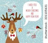 cute hand drawn reindeer... | Shutterstock . vector #331105631