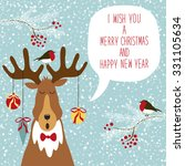 cute hand drawn reindeer... | Shutterstock .eps vector #331105634