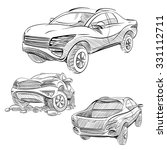 hand drawn sketch car abstract... | Shutterstock .eps vector #331112711