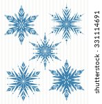 five blue snowflakes  | Shutterstock .eps vector #331114691