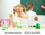 cute pupils doing biochemistry... | Shutterstock . vector #331116281