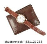 elegant watch and wallet on... | Shutterstock . vector #331121285