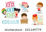 happy cartoon kids in classroom ... | Shutterstock .eps vector #331149779