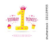 happy first birthday. greeting... | Shutterstock .eps vector #331159955