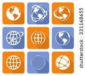 globe earth orange and blue...