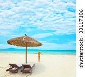 woman enjoy sun on the tropical ... | Shutterstock . vector #33117106