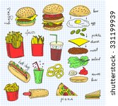 hand drawn sketchy fast food... | Shutterstock .eps vector #331199939