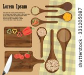 kitchenware utensils and food... | Shutterstock .eps vector #331205087