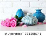 beautiful roses and vases on... | Shutterstock . vector #331208141