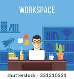 man at work. man in suit in... | Shutterstock . vector #331210331