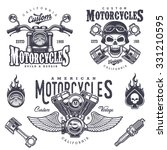 set of vintage motorcycle... | Shutterstock . vector #331210595