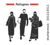 islamic refugees. muslim people ... | Shutterstock .eps vector #331213511