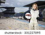 female race car driver  holding ... | Shutterstock . vector #331227095